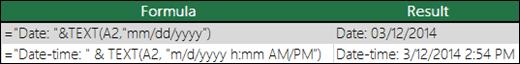 """Contoh penggunaan teks untuk memformat tanggal.  =Text(A2,""""mm/dd/yyyy"""")"""