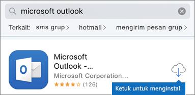 Ketuk ikon awan untuk menginstal Outlook