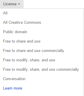 Filter lisensi memiliki beberapa opsi untuk dipilih.