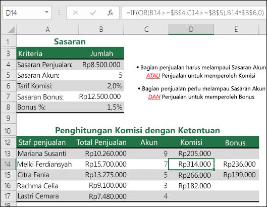 Contoh penggunaan IF dan OR untuk menghitung komisi penjualan.