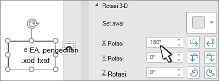 Kotak teks dengan rotasi 3D x 180 derajat