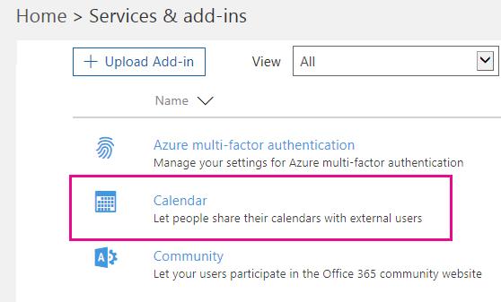 Di halaman Layanan & add-in, klik Kalender.