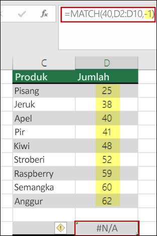 Excel fungsi match