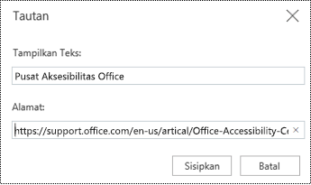 Dialog hyperlink di PowerPoint Online.