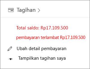 Widget Tagihan di laman Pusat Admin menampilkan saldo tertunggak.