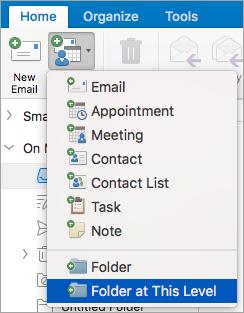 Memperlihatkan memilih Folder tingkat ini dari daftar item baru.