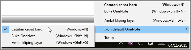 Cuplikan layar tray sistem dengan opsi OneNote.