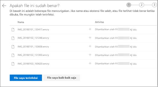 Cuplikan layar Apakah file tampilan kanan layar ini pada situs web OneDrive