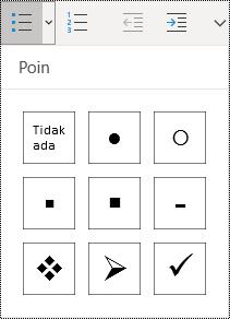 Tombol daftar poin dipilih di pita menu Beranda di OneNote untuk Windows 10.