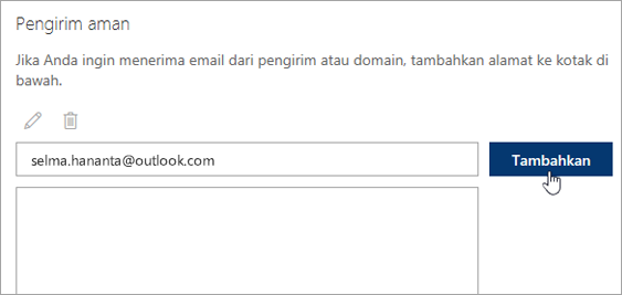 Cuplikan layar kotak pengirim aman