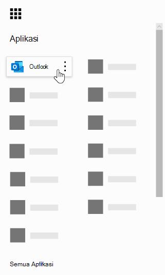 Peluncur aplikasi Office 365 dengan aplikasi Outlook disorot