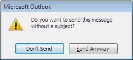 Kotak dialog pemberitahuan untuk sebuah pesan tanpa subjek