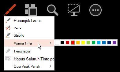 Arahkan ke warna tinta, lalu pilih warna yang Anda inginkan dari menu popup