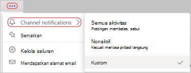 Cuplikan layar pengaturan pemberitahuan saluran di menu opsi lainnya. Garis merah melingkari ikon opsi dan pemberitahuan saluran lainnya