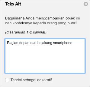 Dialog Excel 365 menulis teks Alt untuk gambar