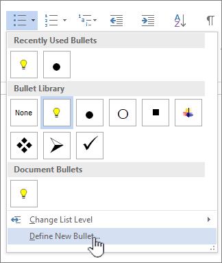Turun bawah Bullet dengan highlihted Bullet baru