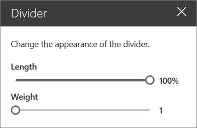 Panel detail komponen Web divider di SharePoint online saat mengedit situs