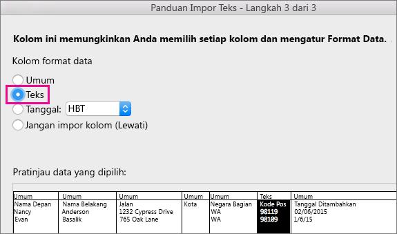 Panduan Impor Teks langkah 3