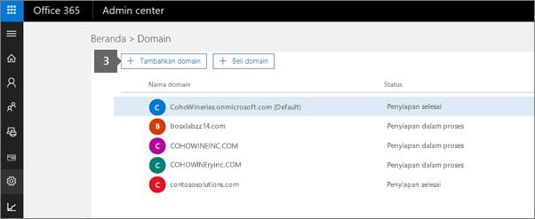 Di halaman Domain, pilih Tambahkan domain