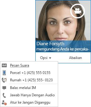 Cuplikan layar pemberitahuan panggilan video dengan gambar kontak di sudut atas