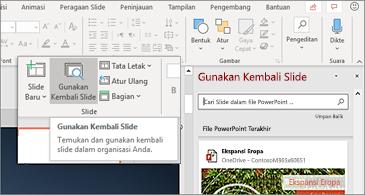 Menggunakan ulang slide tombol dan panel terbuka di PowerPoint