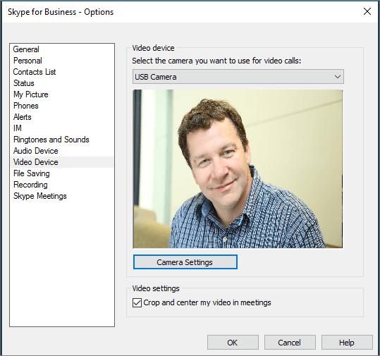 Cuplikan layar halaman Perangkat Video di kotak dialog Opsi Skype for Business.