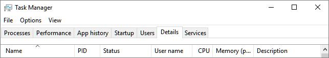 Cuplikan layar tab rincian di Manajer tugas