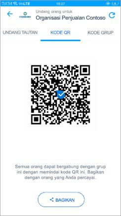 Cuplikan layar halaman kode QR di Kaizala
