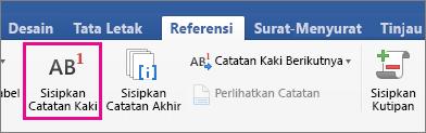 Pada tab Referensi, tombol Catatan Kaki disorot
