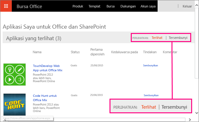 Memperlihatkan tombol alih Terlihat/Tersembunyi pada aplikasi untuk situs Office