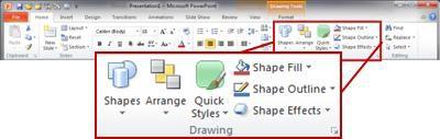 Grup Menggambar pada tab Beranda di pita PowerPoint 2010.