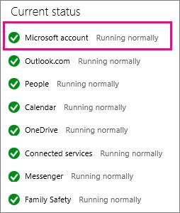 Status layanan Akun Microsoft