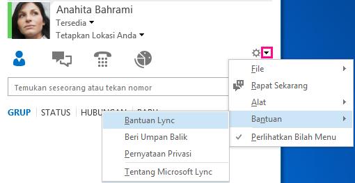 Cuplikan layar Menu Bantuan