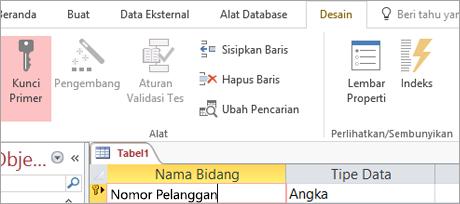 Memilih bidang kunci utama dalam tabel Access baru