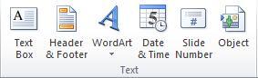 Grup Teks pada tab Sisipkan di pita PowerPoint 2010.