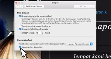 Kotak dialog Simpan dengan opsi untuk menyematkan font