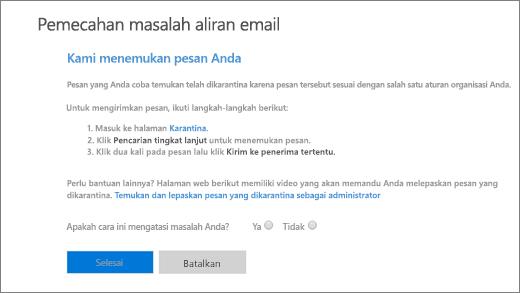 Cuplikan layar yang memperlihatkan contoh hasil pemecah masalah aliran email.