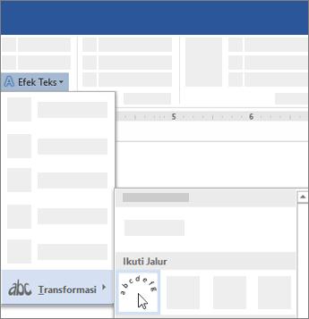 Opsi untuk mengubah teks agar mengikuti alur