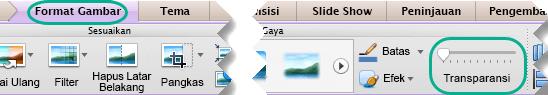 Slider transparansi untuk gambar berada di tab Format gambar ketika gambar dipilih pada slide