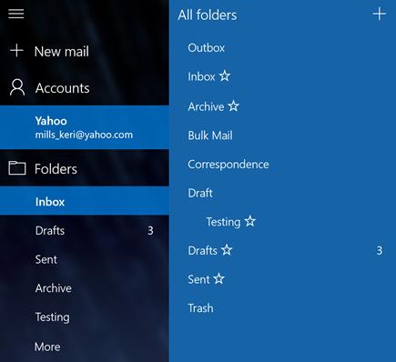 Email dan kalender - Buat folder baru