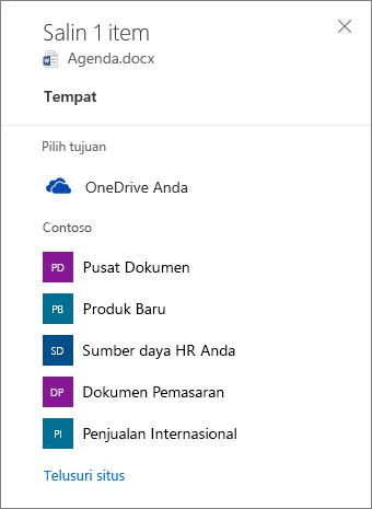 Cuplikan layar Memilih tujuan ketika menyalin file dari OneDrive for Business ke situs SharePoint.