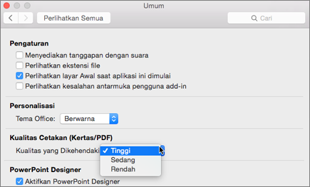 Mengatur kualitas cetakan PDF ke Tinggi, Sedang, atau Rendah