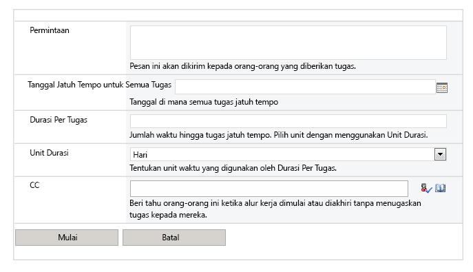 Gambar layar alur kerja