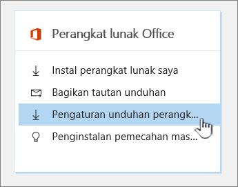 Pengaturan unduhan perangkat lunak perangkat lunak Office