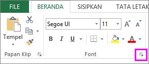 Tombol peluncur kotak dialog Font