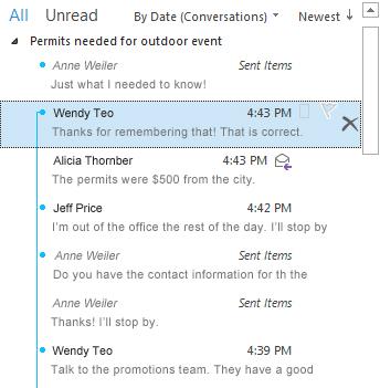 Contoh Percakapan dengan pemisah yang diperluas penuh dalam daftar pesan