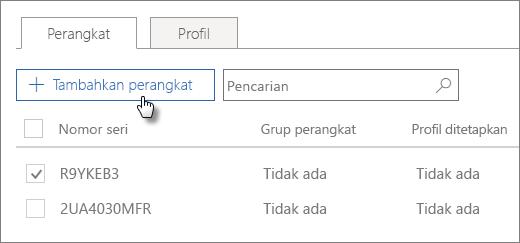 Di tab Perangkat, pilih Tambahkan perangkat.