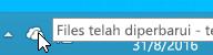Cuplikan layar memperlihatkan ikon OneDrive putih di Windows 8.1.