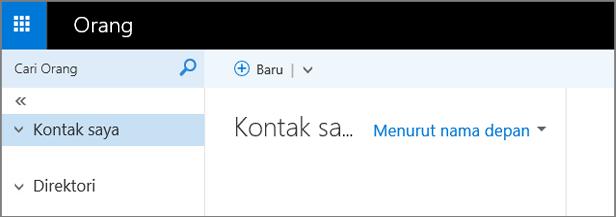 Gambar dari tampilan halaman Sosial di Aplikasi Web Outlook