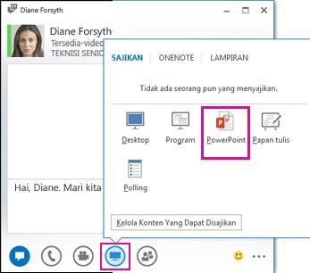 Cuplikan layar untuk menambahkan PowerPoint ke IM